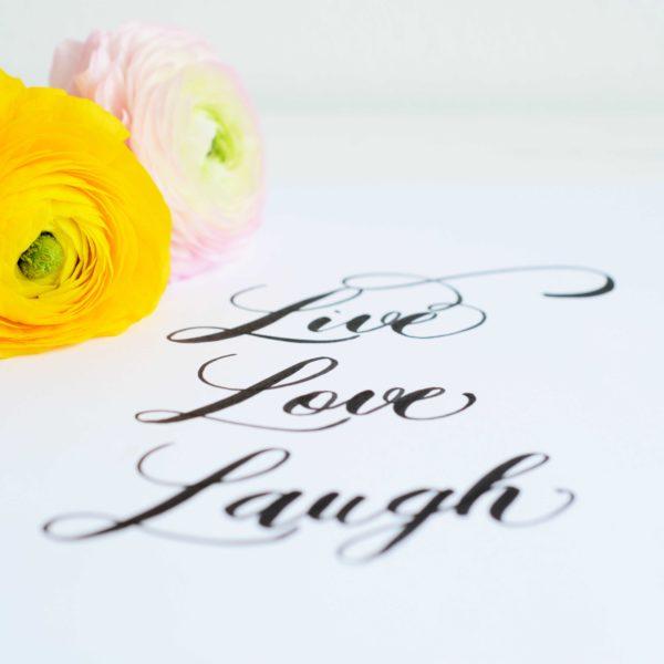 Brush lettering Live Love Laugh