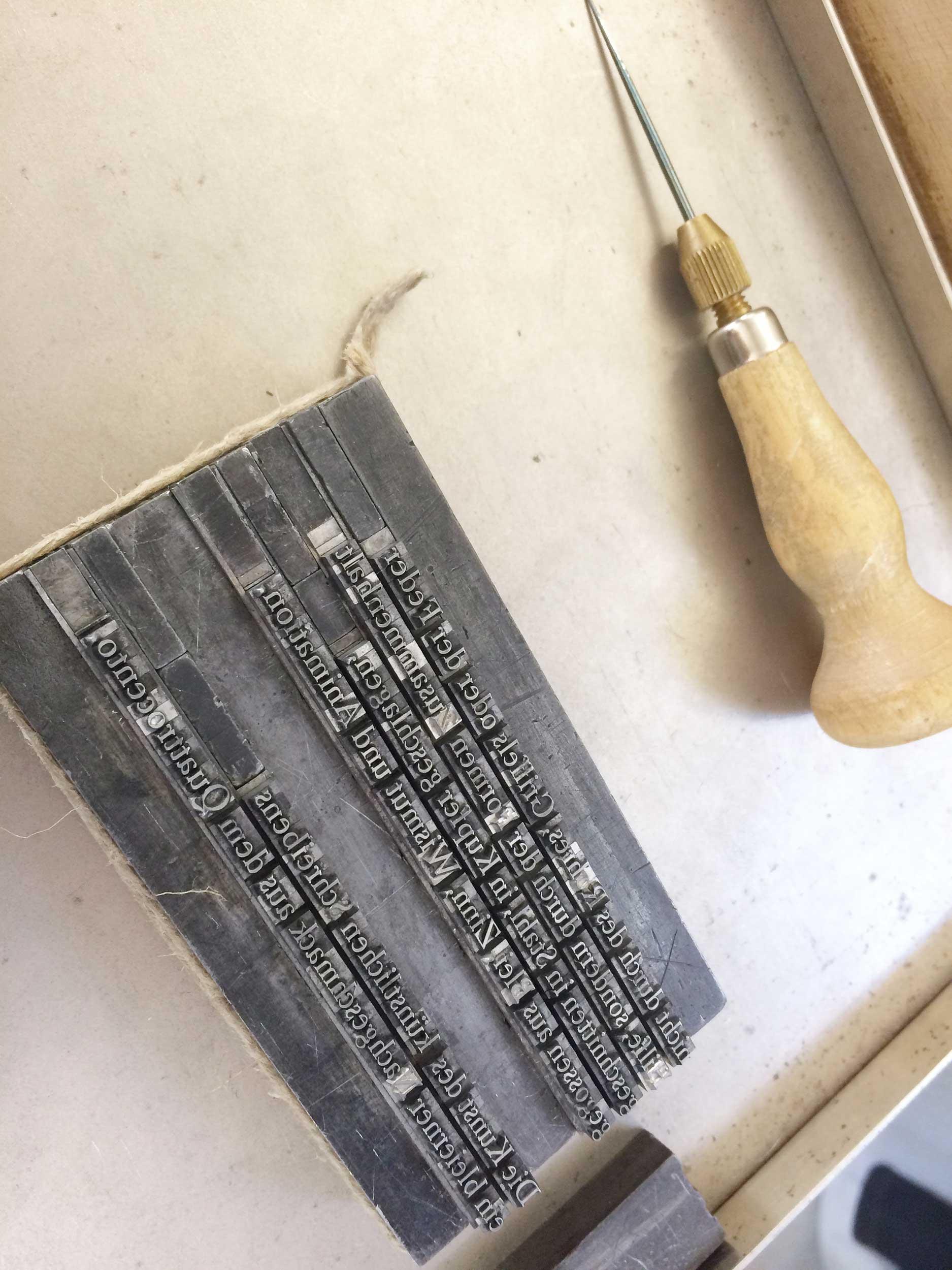 Letterpress Bleisatz Ahle