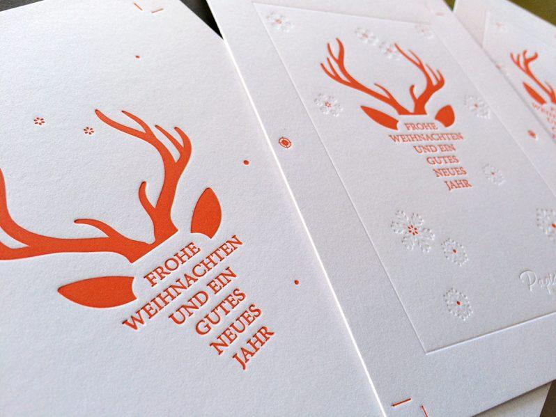 """Weihnachtskarte """"Letterpress Hirsch"""""""