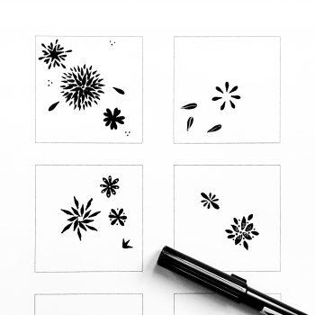 panier-liebe-florales-muster-brushpen