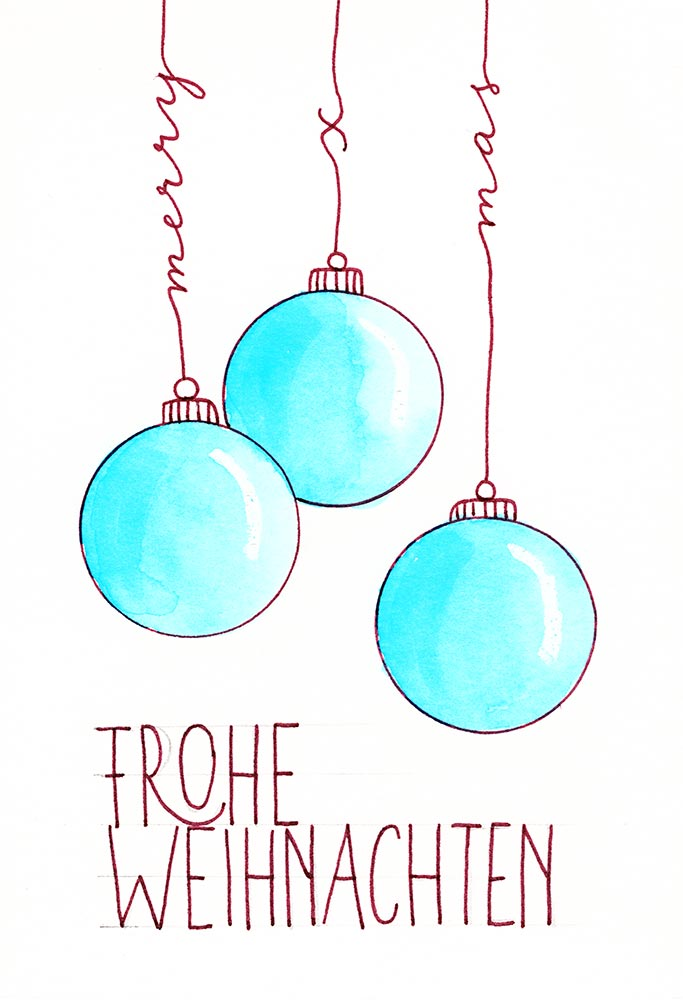 Frohe Weihnachten Text Karte.Handlettering Karte Frohe Weihnachten Katja Haas