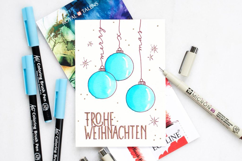 papierliebe-frohe-weihnacht-royal-talens-brushpen-pigma-micron-koi