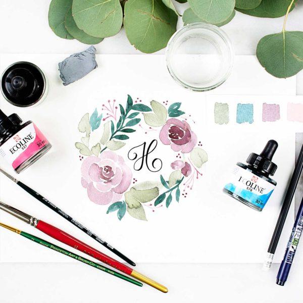 monogramm-blumenkranz-watercolor-farbe-mischen
