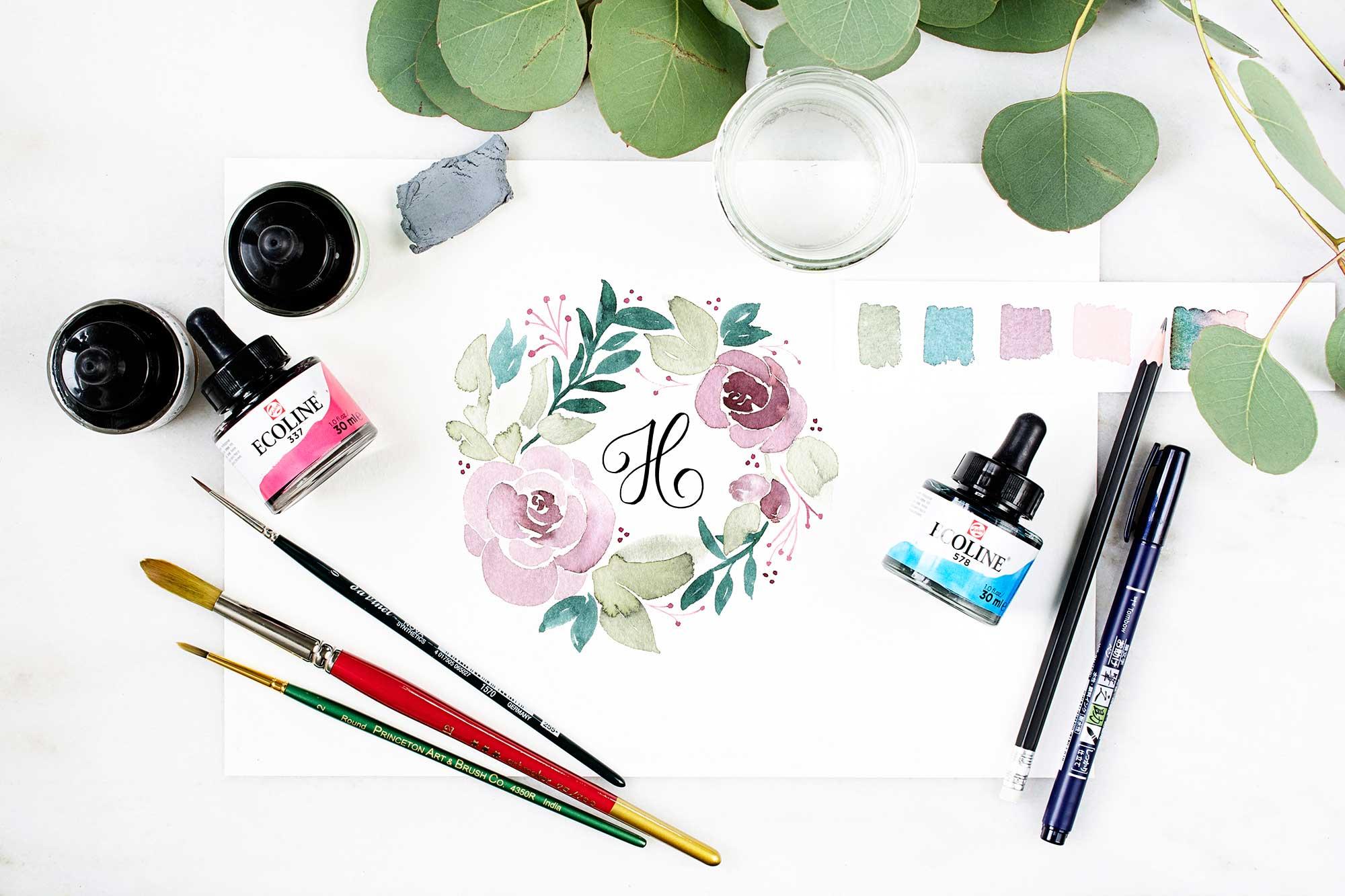 Monogramm blumenkranz watercolor farbe mischen katja haas papierliebe - Altrosa wandfarbe mischen ...