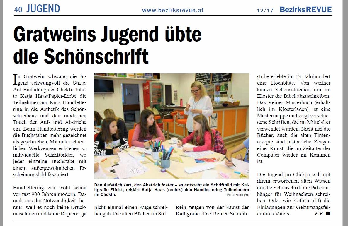 Artikel Bezirksrevue Handlettering mit Katja Haas
