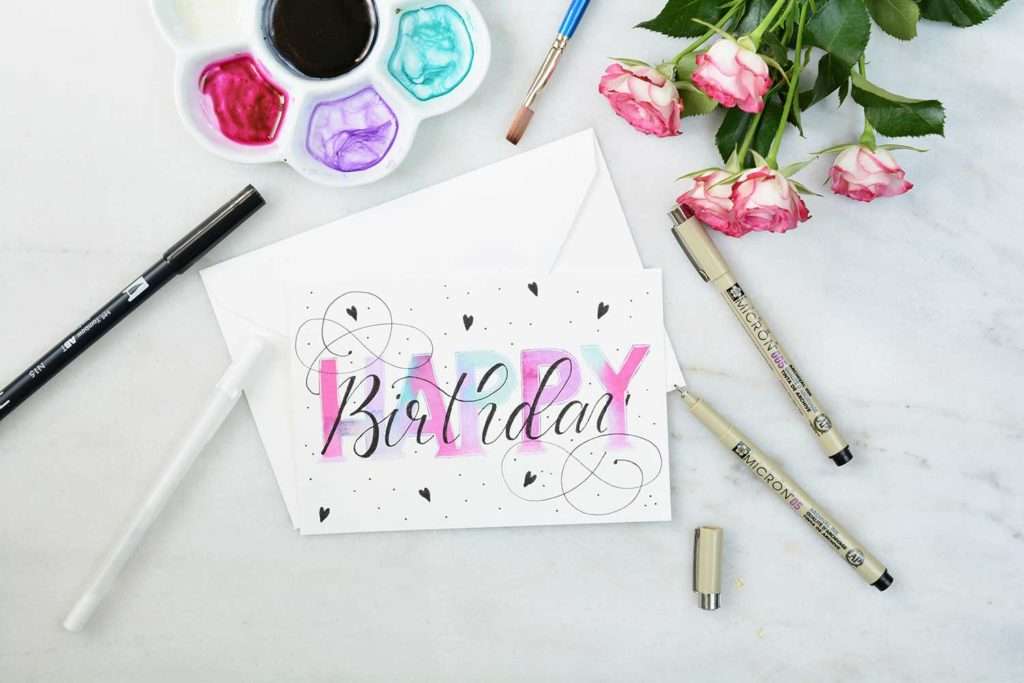 Geburtstagskarte Handlettering & Watercolor