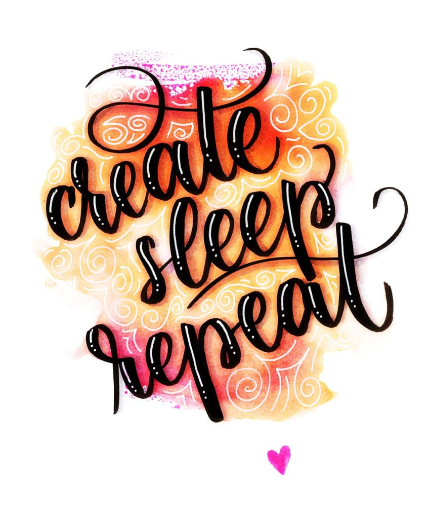 create sleep repeat –Brush-Lettering-Spruch mit Watercolor