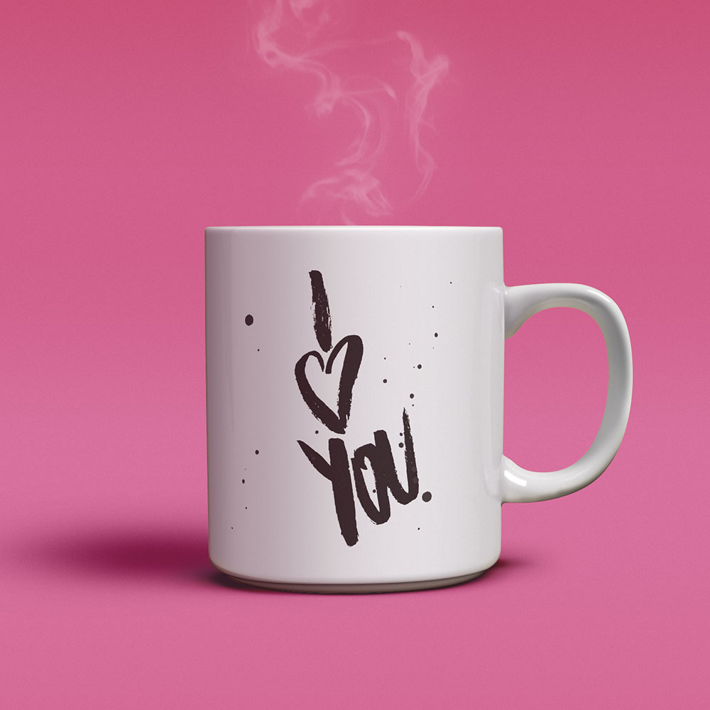 PapierLiebe-Tasse Brush-Lettering I love you