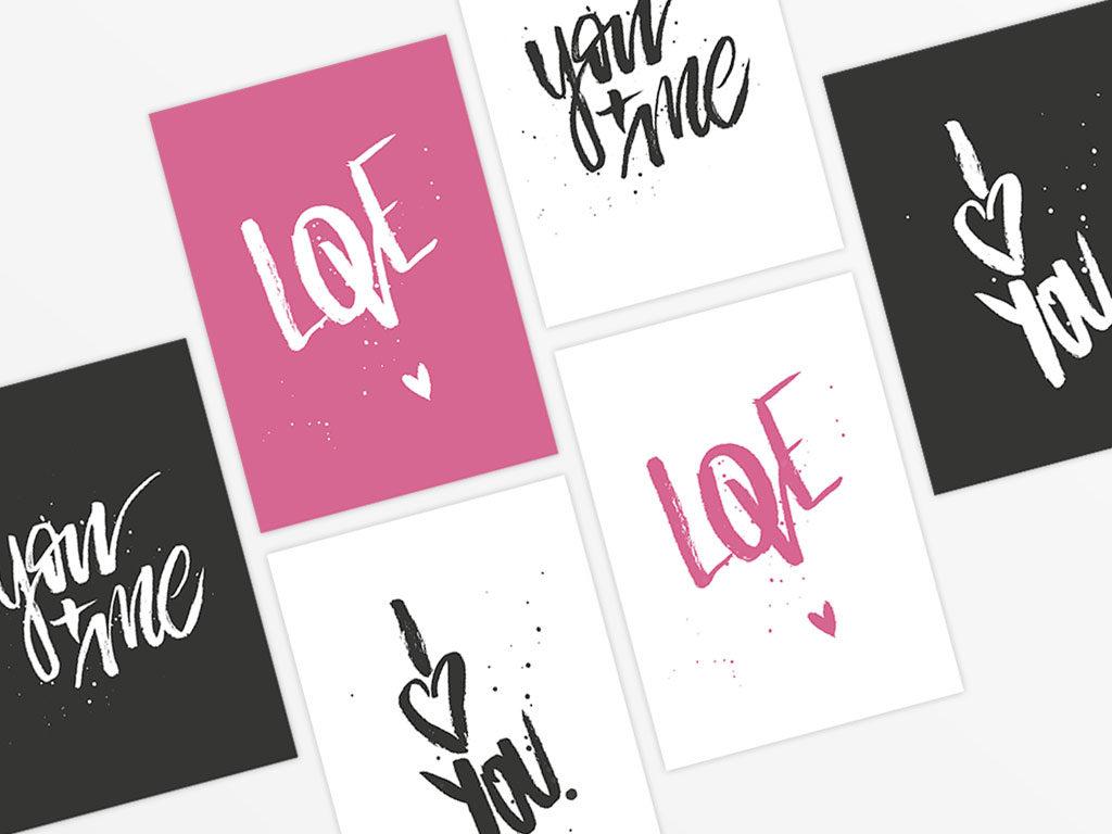 Spruchkarte Brush-Lettering für Valentinstag
