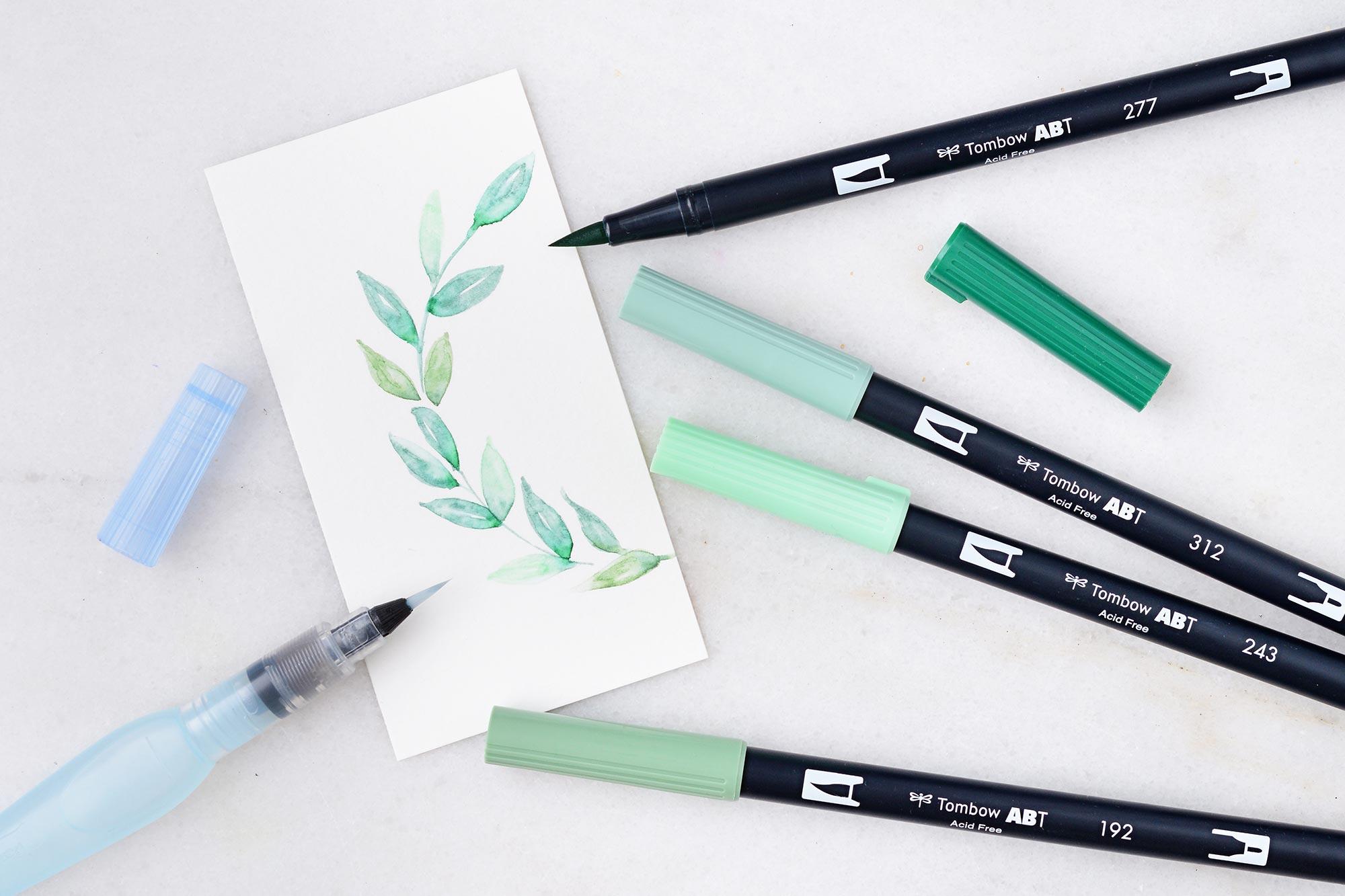 Einfache Watercolor-Blätter mit Brush Pens erstellen