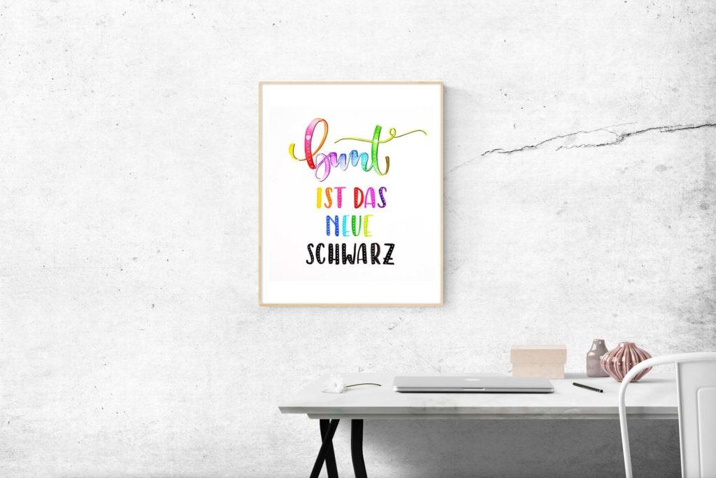 """bunt""-Schriftzug Brush-Lettering und Watercolor-Blending"