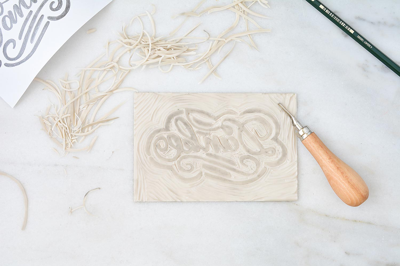 Handlettering Linolschnitt Linoldruck