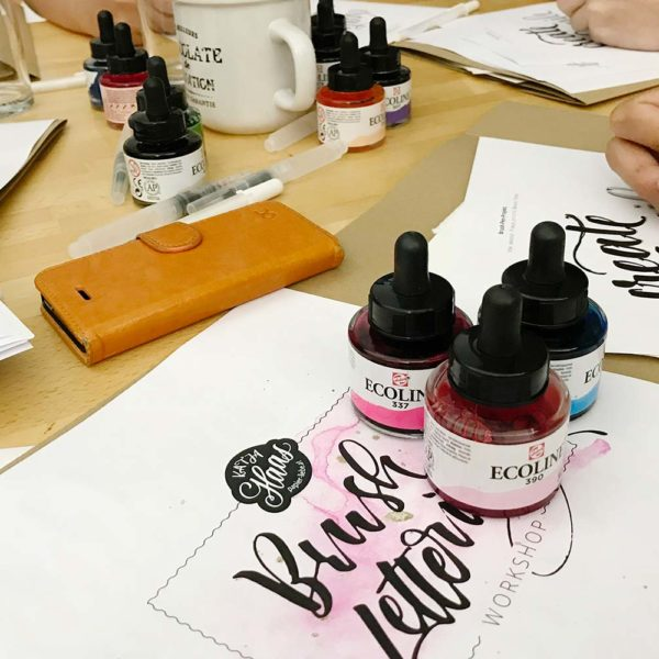 Brush-Lettering-Workshop Katja Haas im Stift Rein Ecoline Watercolor