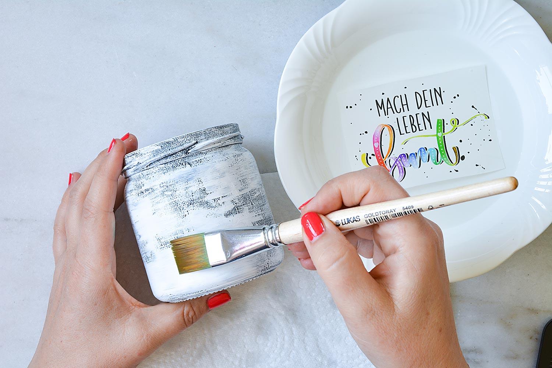 Marmeladenglas-Acrylfarbe-Wasserschiebefolie