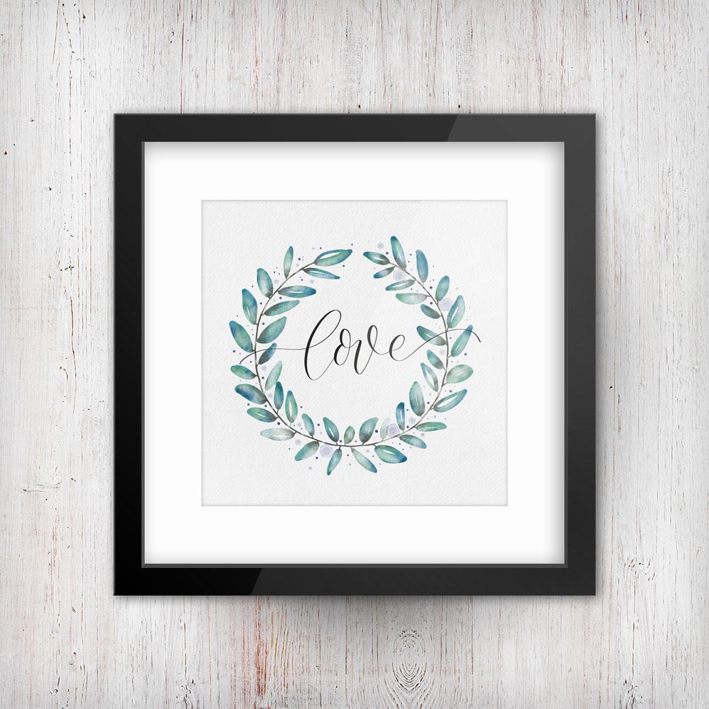 Love-Schriftzug in einem Watercolor-Kranz