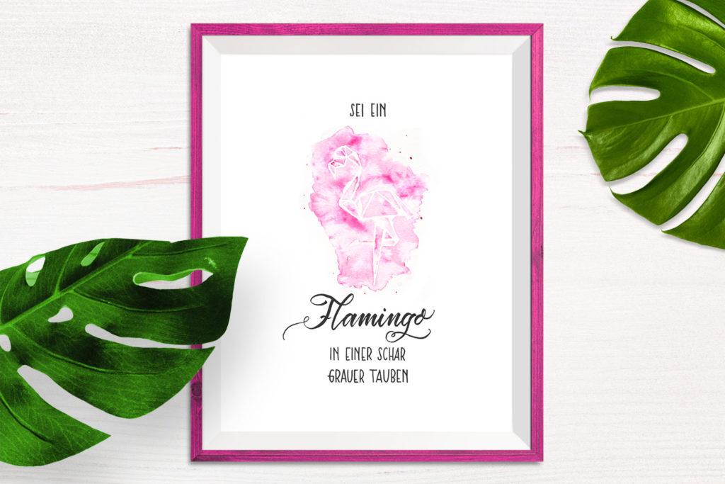 Sei ein Flamingo in einer Schar grauer Tauben