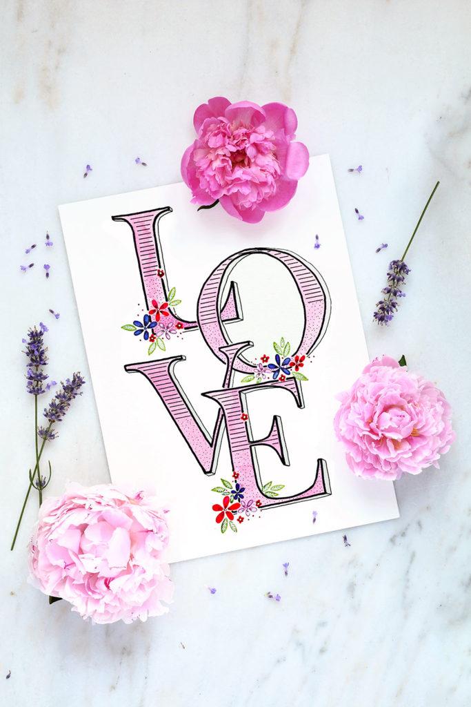 Love-Schriftzug aus dem Buch Lettering Ideenschatz