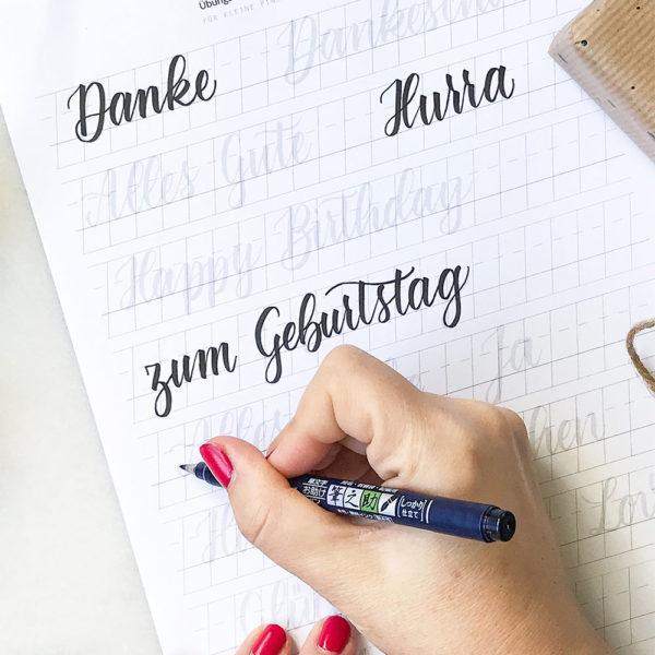 Übungsvorlage für Brush-Lettering-Wörter