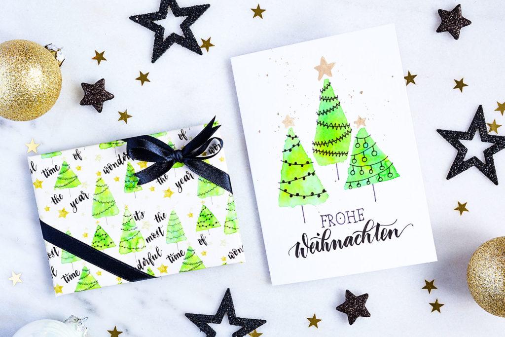 diy weihnachtskarte und geschenkpapier katja haas. Black Bedroom Furniture Sets. Home Design Ideas