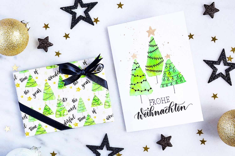 DIY: Geschenkpapier & Weihnachtskarte