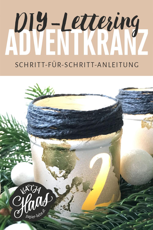 DIY-Lettering-Adventkranz aus Marmeladengläser