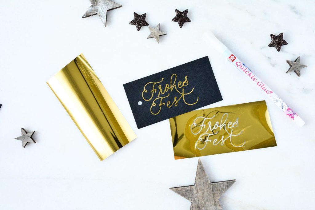 Geschenkanhänger Frohes Fest mit Goldfolie