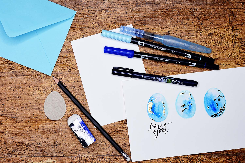 Ei love you –Osterkarte mit Watercolor & Brush-Lettering