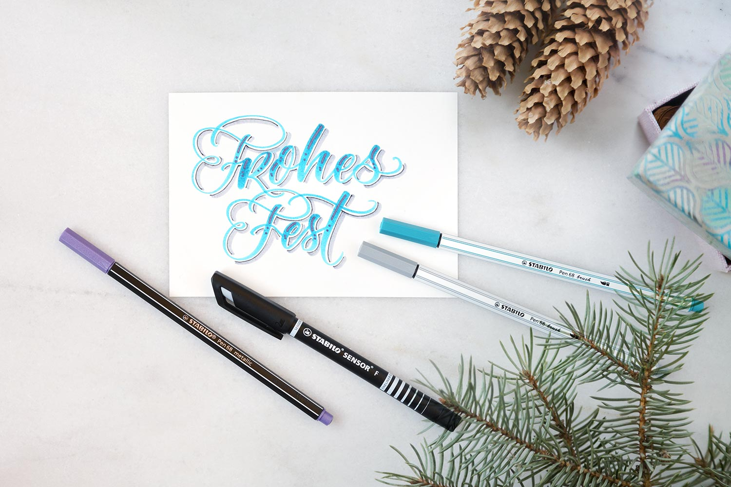 Frohes Fest Stabilo Pen 68 brush