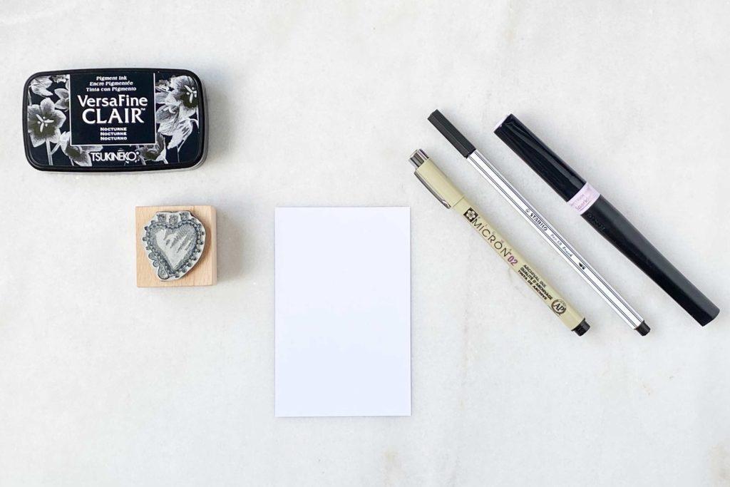 Material für Muttertagskarte mit Stempeltechnik, Handlettering & Line Drawing