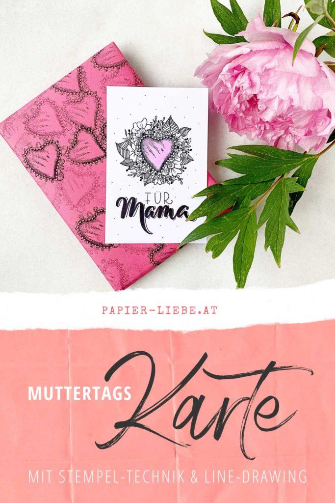 Muttertagskarte mit Stempeltechnik, Handlettering & Line Drawing