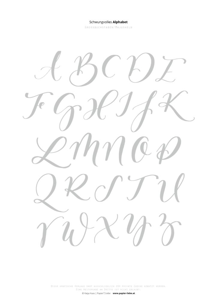 Schwungvolles Brush-Lettering-Alphabet Großbuchstaben