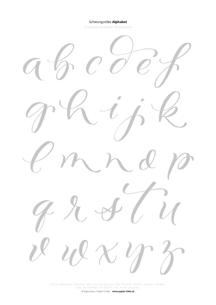 Schwungvolles Brush-Lettering-Alphabet Kleinbuchstaben
