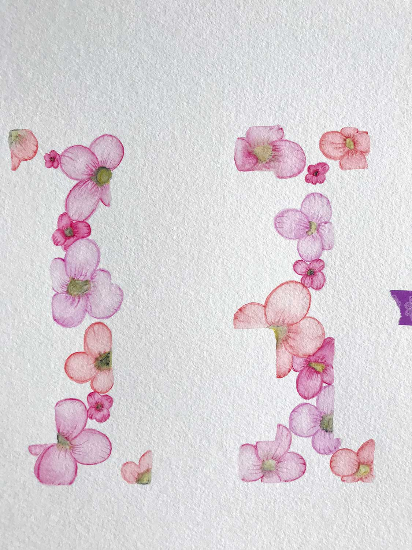 Botanical-Lettering – Schritt 2