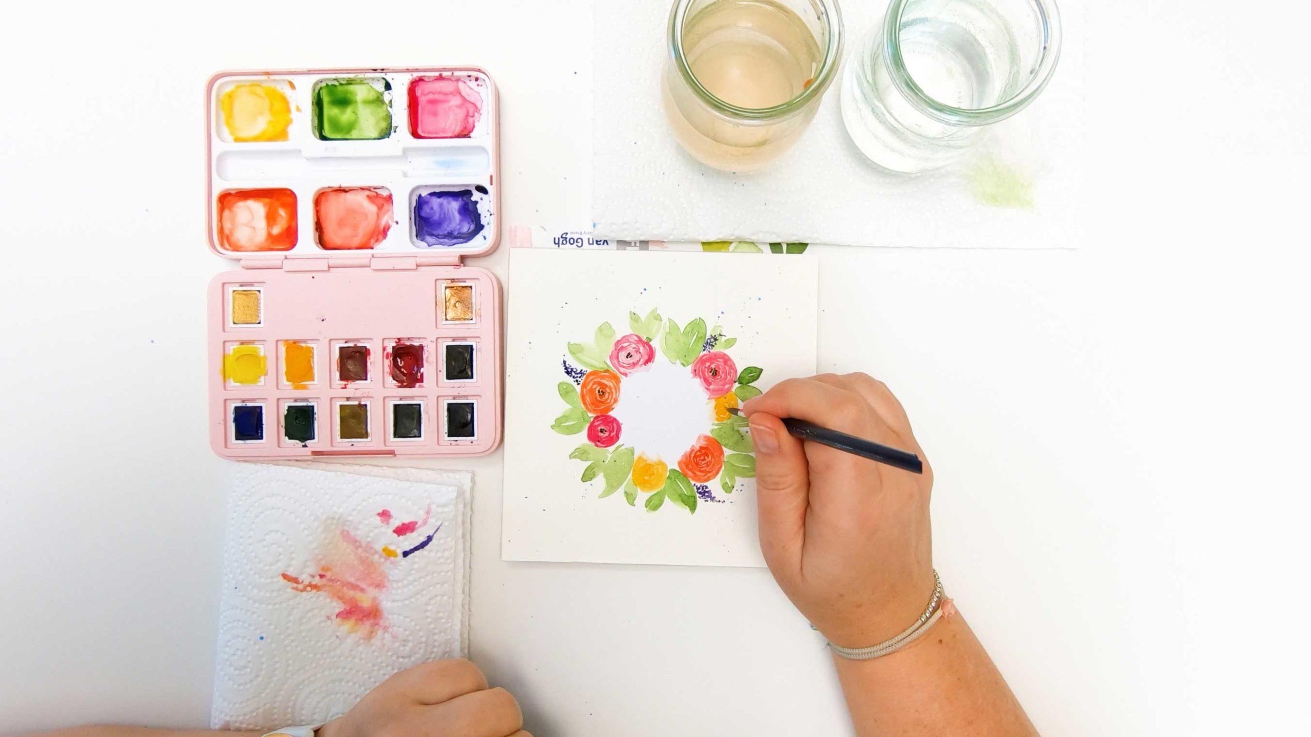Spring vibes – Watercolor-Tipp: Maskieren mit Etikettenpapier