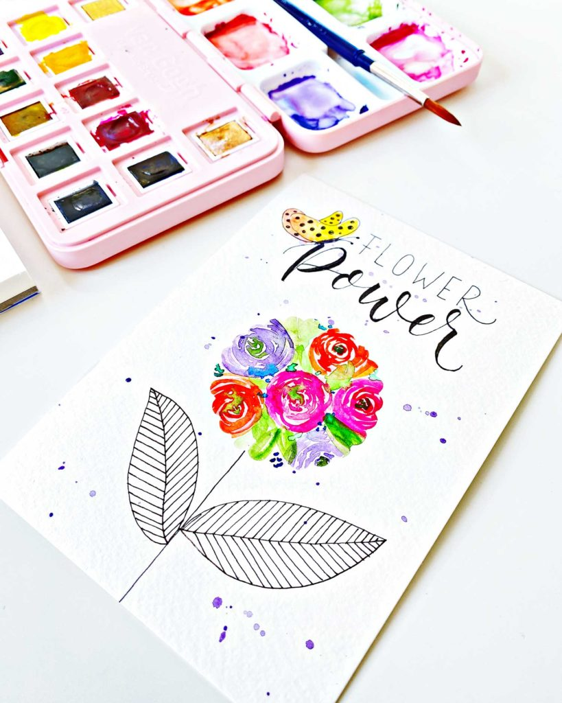 Flower Power – Watercolor maskieren mit Etikettenpapier
