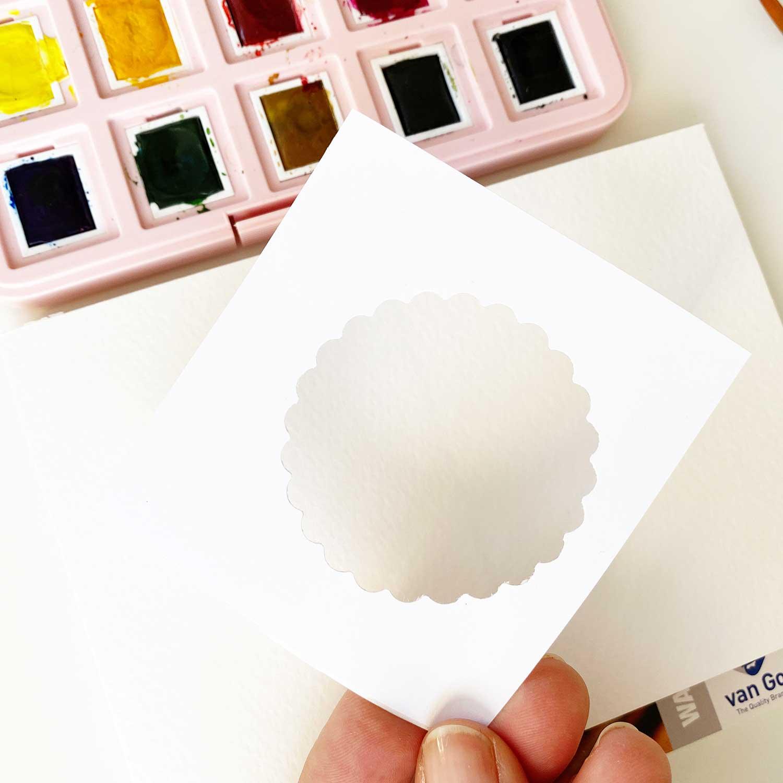 Flower Power –Watercolor maskieren mit Etikettenpapier