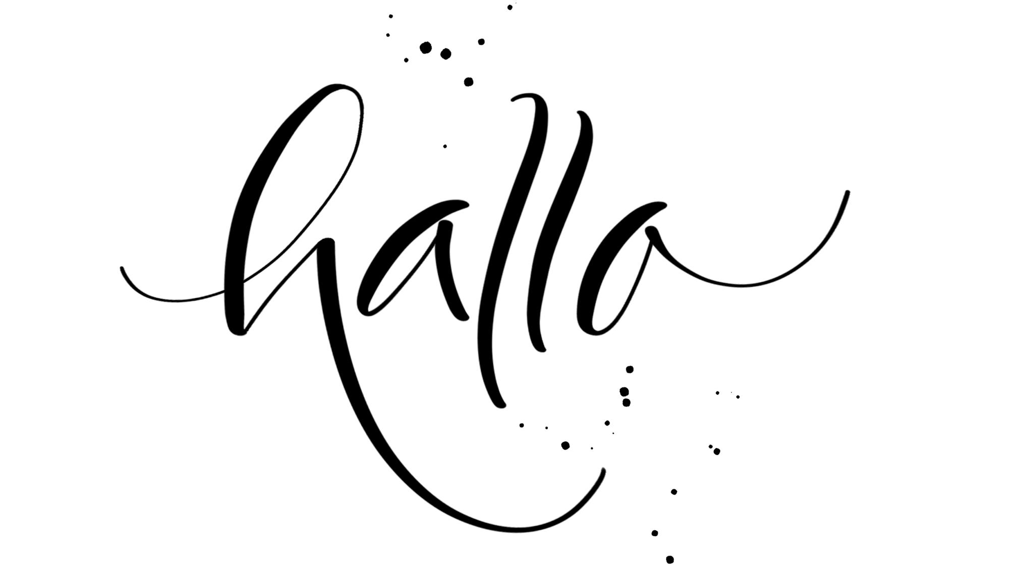 hallo Brush-Lettering Schriftzug