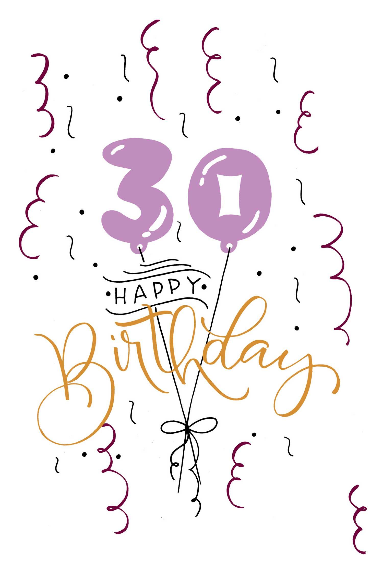 30 Happy Birthday – Bubble-Lettering